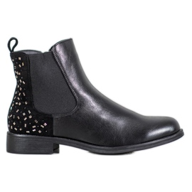 J. Star Laarzen met kristallen zwart