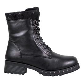 J. Star Hoge laarzen met strass zwart