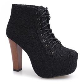 Kanten laarzen met hak K764B Zwart