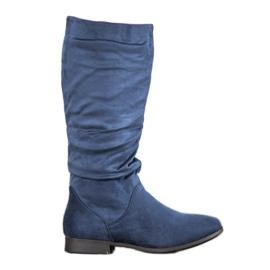 SHELOVET Suède laarzen boven de knie blauw