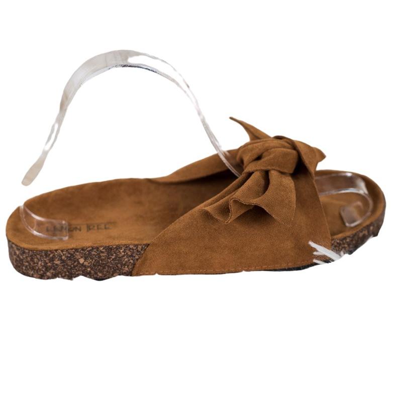 SHELOVET Suede-slippers met strik bruin
