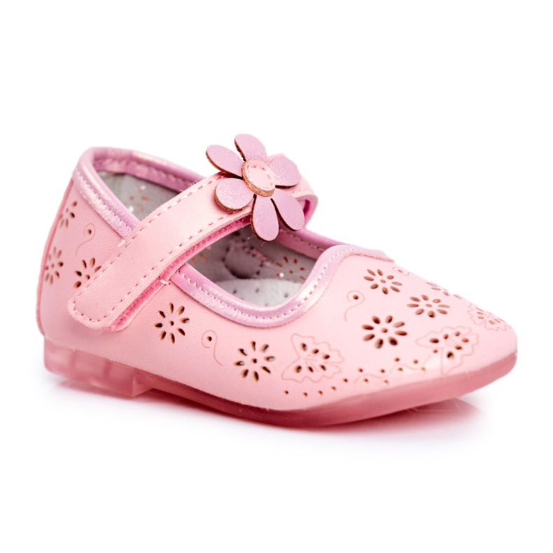 Apawwa Kinder Flats Velcro Bloem Roze Flored