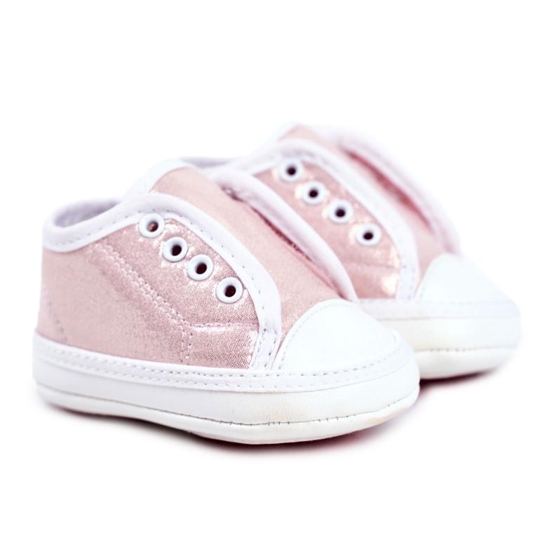 Apawwa Baby klittenband sneakers met glitter doop roze Milley