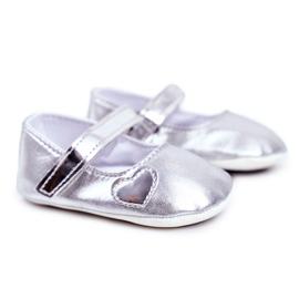 Apawwa Baptism Baby Velcro Sneakers Bellawa Zilver grijs