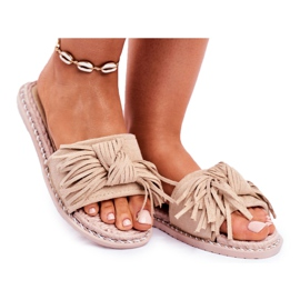 SEA Dames Pantoffels Met Strik Beige Thailand bruin