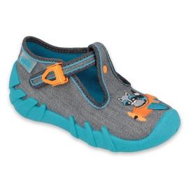 Befado kinderschoenen 110P392 blauw oranje grijs