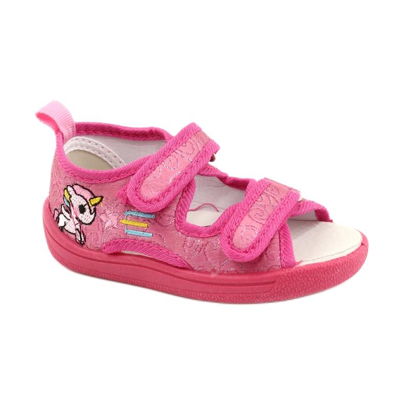 American Club Amerikaanse TEN38/20 sandalen pantoffels, fuchsia leren binnenzool roze