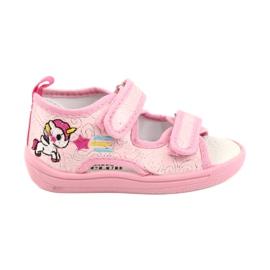 American Club Amerikaanse TEN38/20 sandalen pantoffels, leren inzet roze