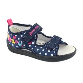 American Club Pantoffels, sandalen, Amerikaanse kinderschoenen, leren binnenzool marineblauw roze