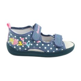 American Club Pantoffels, sandalen, Amerikaanse kinderschoenen, leren binnenzool wit blauw roze