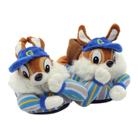 American Club Warme pantoffels dieren Amerikaanse eekhoorns blauw bruin 5