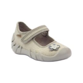Befado kinderschoenen ballerina slippers 109p163 bruin grijs geel 1