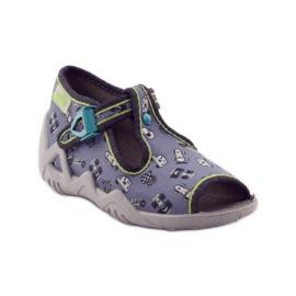 Slippers speeders Befado 217p092 groen grijs zwart wit 1