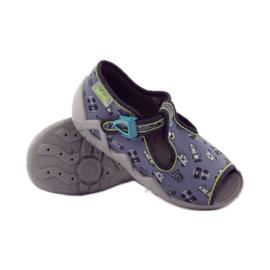 Slippers speeders Befado 217p092 groen grijs zwart wit 3