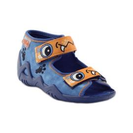 Blauwe slippers met klittenband Befado 250p065 oranje 1
