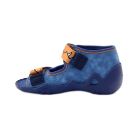 Blauwe slippers met klittenband Befado 250p065 oranje 2