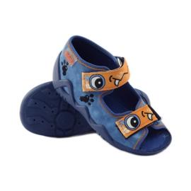 Blauwe slippers met klittenband Befado 250p065 oranje 3