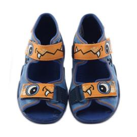 Blauwe slippers met klittenband Befado 250p065 oranje 4