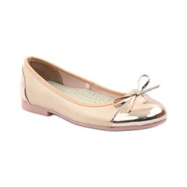 American Club Ballerina's schoenen met een Amerikaanse strik roze geel wit 1