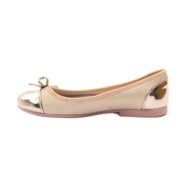 American Club Ballerina's schoenen met een Amerikaanse strik roze geel wit 2