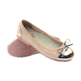 American Club Ballerina's schoenen met een Amerikaanse strik roze geel wit 3