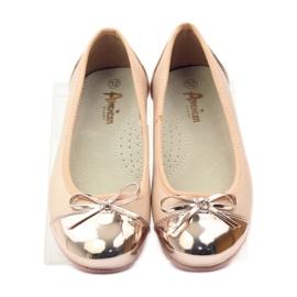American Club Ballerina's schoenen met een Amerikaanse strik roze geel wit 4