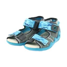 Befado kinderschoenen sandalen met een lederen inzetstuk 350P062 blauw grijs 3