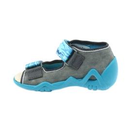 Befado kinderschoenen sandalen met een lederen inzetstuk 350P062 blauw grijs 2