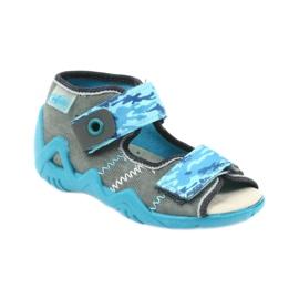 Befado kinderschoenen sandalen met een lederen inzetstuk 350P062 blauw grijs 1