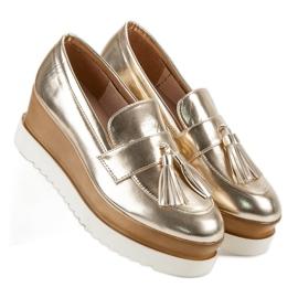 Corina Gouden Loafers op Wedge geel 3