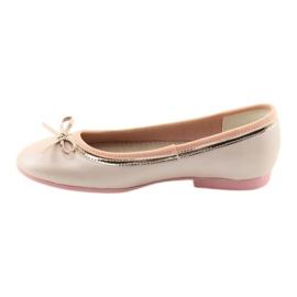 Ballerina's met een strik roze parel American Club GC14 / 19 goud 2