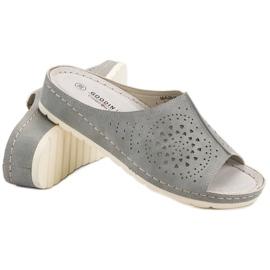 Goodin opengewerkte grijze damespantoffels grijs 4