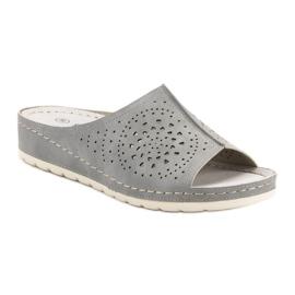 Goodin opengewerkte grijze damespantoffels grijs 2