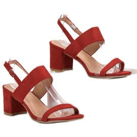 Ideal Shoes Modieuze damessandalen rood 3