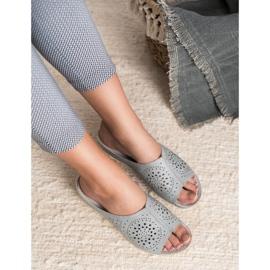Goodin opengewerkte grijze damespantoffels grijs 1