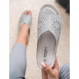 Goodin opengewerkte grijze damespantoffels grijs 5