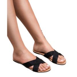 Primavera Comfortabele platte slippers zwart 2