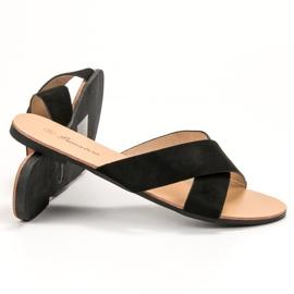 Primavera Comfortabele platte slippers zwart 1