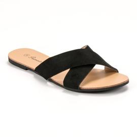 Primavera Comfortabele platte slippers zwart 3