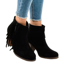 Zwarte suede boho boots op een paal FY8333 1