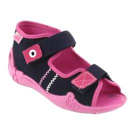 Slippers voor meisjes Velcro Befado 242p056 marineblauw roze 1