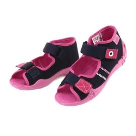 Slippers voor meisjes Velcro Befado 242p056 marineblauw roze 3