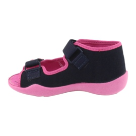 Slippers voor meisjes Velcro Befado 242p056 marineblauw roze 2