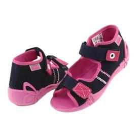 Slippers voor meisjes Velcro Befado 242p056 marineblauw roze 4