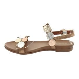 Gouden sandalen Daszyński MR1958-1 bruin zilver 2