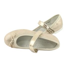 American Club GC02 gouden ballerina's met een strik beige 5