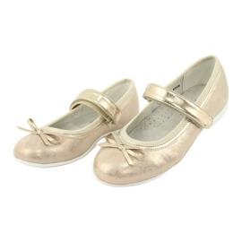 American Club GC02 gouden ballerina's met een strik beige 3