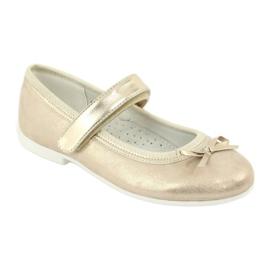 American Club GC02 gouden ballerina's met een strik beige 1