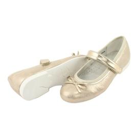 American Club GC02 gouden ballerina's met een strik beige 4