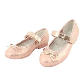 Golden Rose Ballerina's met de boog van American Club GC02 roze goud 3